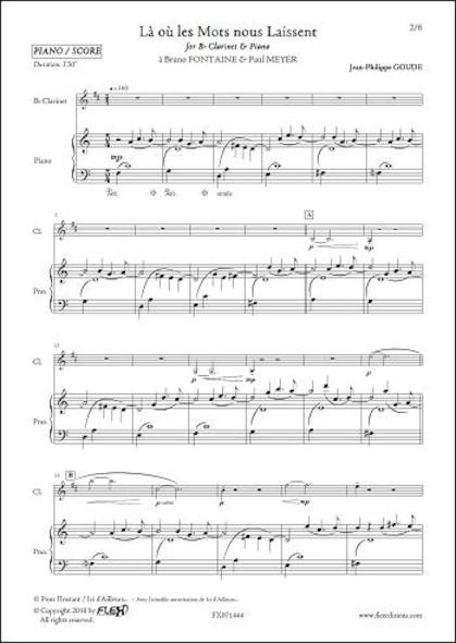 Là où les mots nous laissent - J.-P. GOUDE -  Clarinette et Piano
