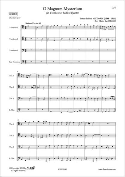 O Magnum Mysterium - T.L. de VICTORIA - Quatuor de Trombones