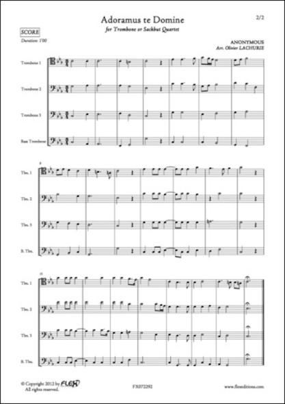 Adoramus te Domine - ANONYMOUS - Quatuor de Trombones