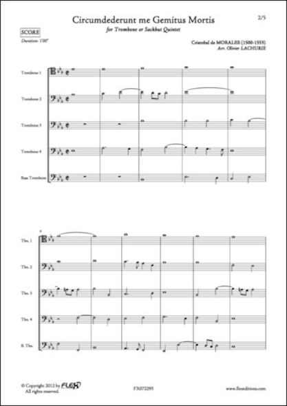 Circumdederunt me Gemitus Mortis - C. de MORALES - Quintette de Trombones