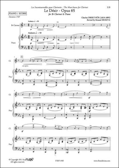 Le Désir - Opus 65 - C. OBERTHUR - Clarinette et Piano