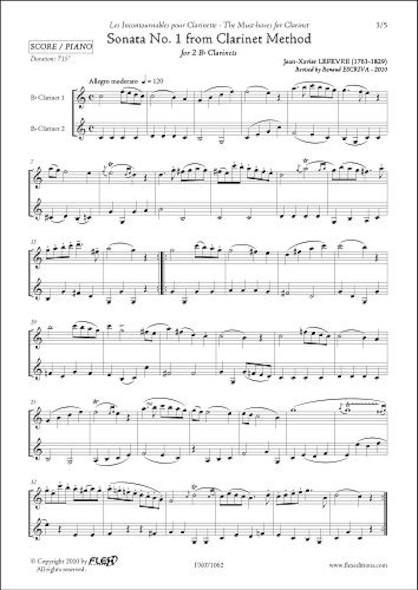 Sonate No. 1 de la Méthode pour Clarinette - J.-X. LEFEVRE - Duo de Clarinettes