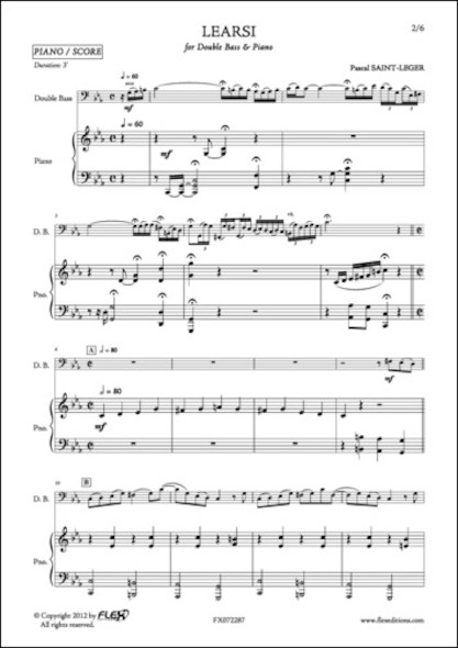 Learsi - P. SAINT-LEGER - Contrebasse et Piano