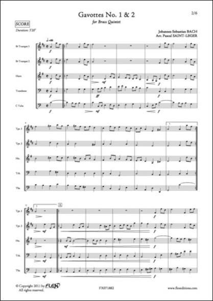 Gavottes No. 1 & 2 en Ré Majeur - J. S. BACH - Quintette de Cuivres