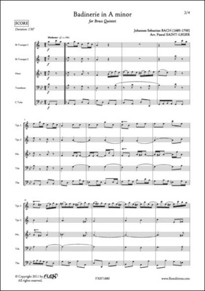 Badinerie en La mineur - J. S. BACH - Quintette de Cuivres