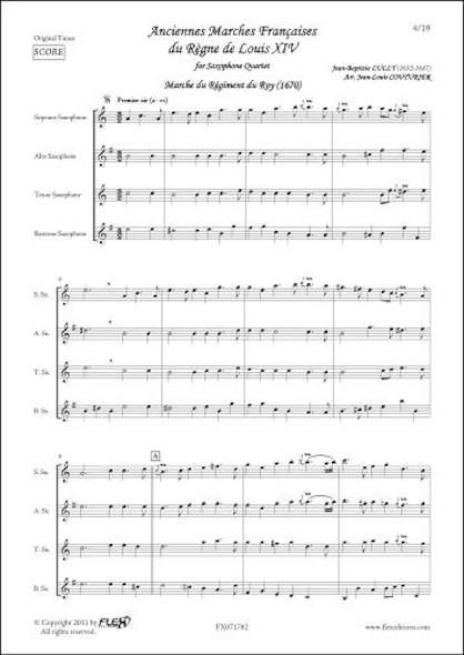 Anciennes Marches Françaises du Règne de Louis XIV - J.-B. LULLY - Quatuor de Saxophones