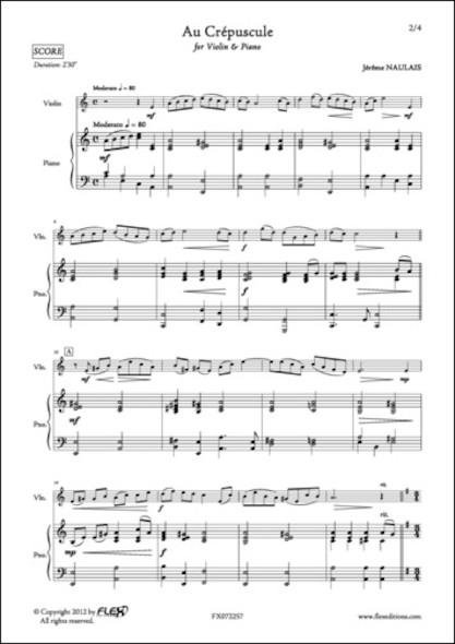 Au Crépuscule - J. NAULAIS - Violon et Piano