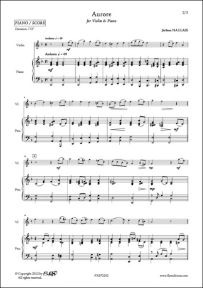 Aurore - J. NAULAIS - Violon et Piano