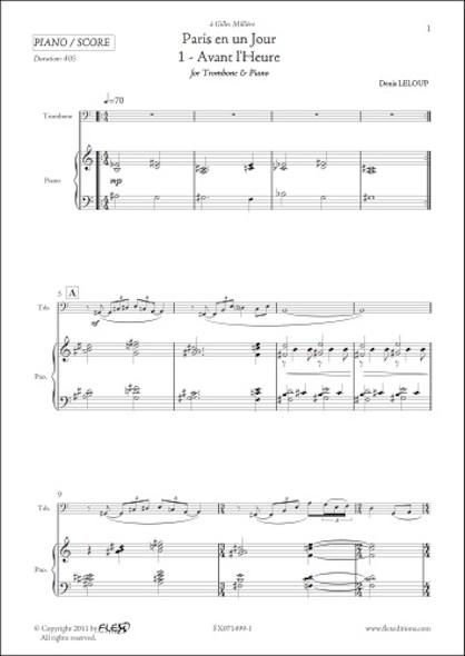 Paris en un Jour - 1 - Avant l'Heure - D. LELOUP - Trombone & Piano