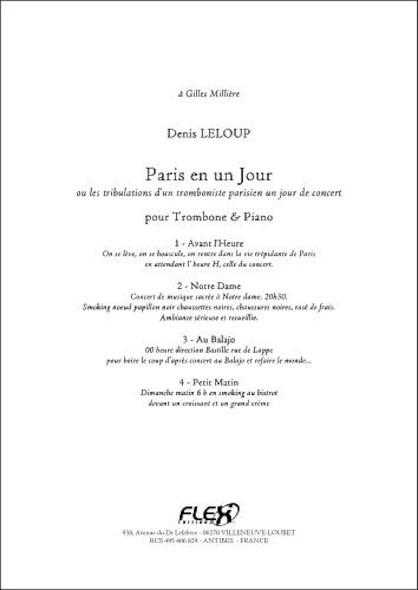 Paris en un Jour - D. LELOUP - Trombone & Piano