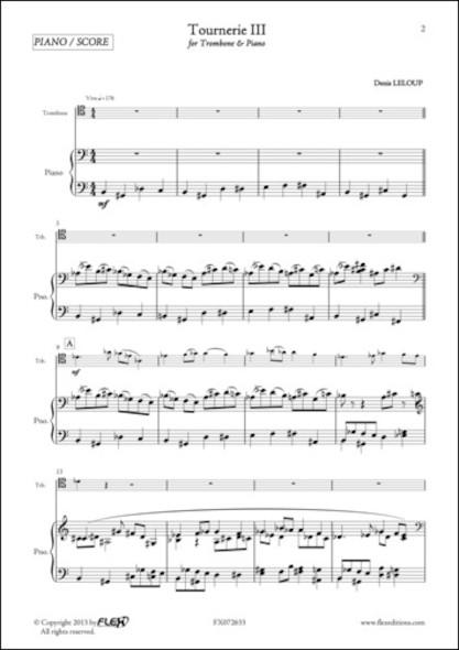 Tournerie III - D. LELOUP - Trombone et Piano
